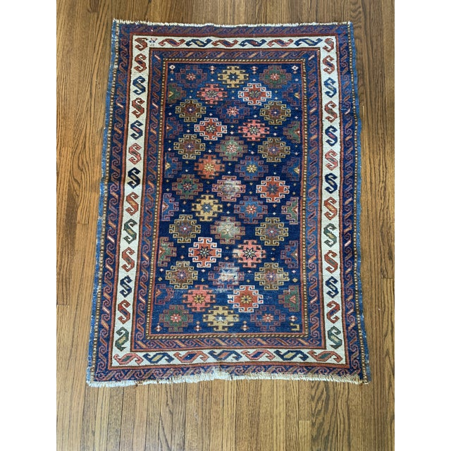 "Textile Vintage Cobalt Blue Hand Knotted Geometric Rug- 34""x 47"" For Sale - Image 7 of 7"
