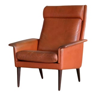 Danish Midcentury Cognac Colored High Back Lounge Chair by Sibast For Sale