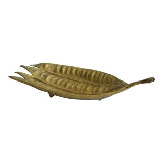Brass Mimosa Seed Pod Leaf Tray by Virginia Metalcrafters