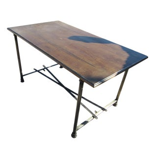 Wood & Steel Industrial Age Table Desk For Sale