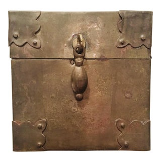 Solid Brass Box With Riveted Corner Detail For Sale