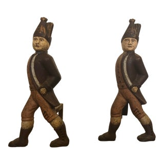 19th Century Cast Iron Hessian Soldier Andirons - a Pair For Sale