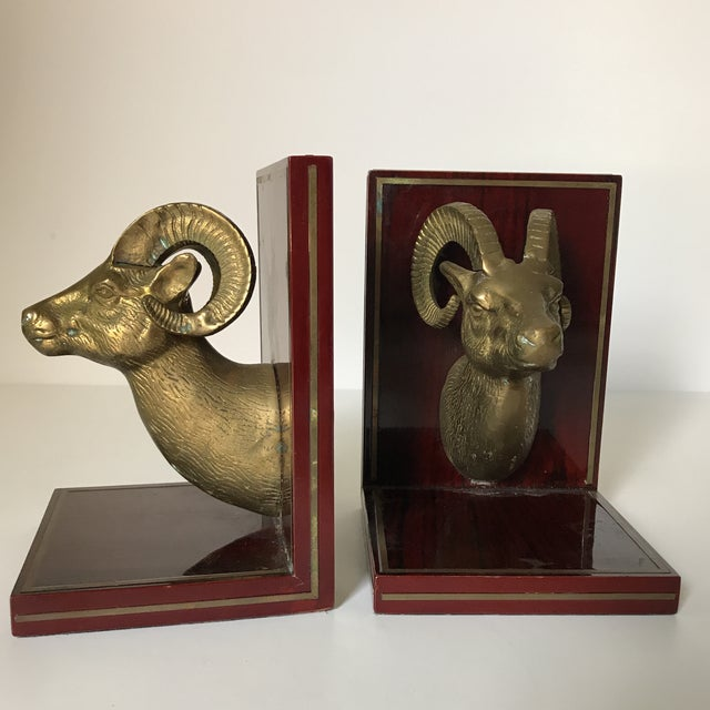 Traditional Mid Century Brass Ram Cherry Wood Bookends - A Pair For Sale - Image 3 of 9