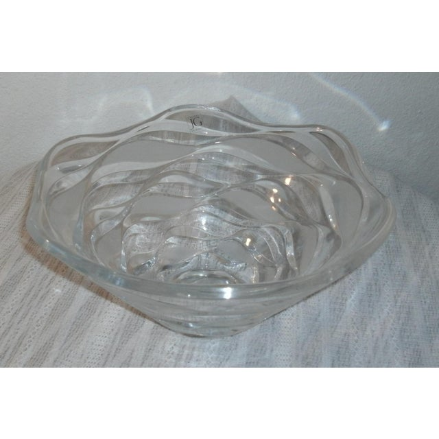 """Gorgeous Cristal D'Arques JG Durand crescendo crystal bowl, a retired style from the early 2000's. Measures approx 11 1/2""""..."""