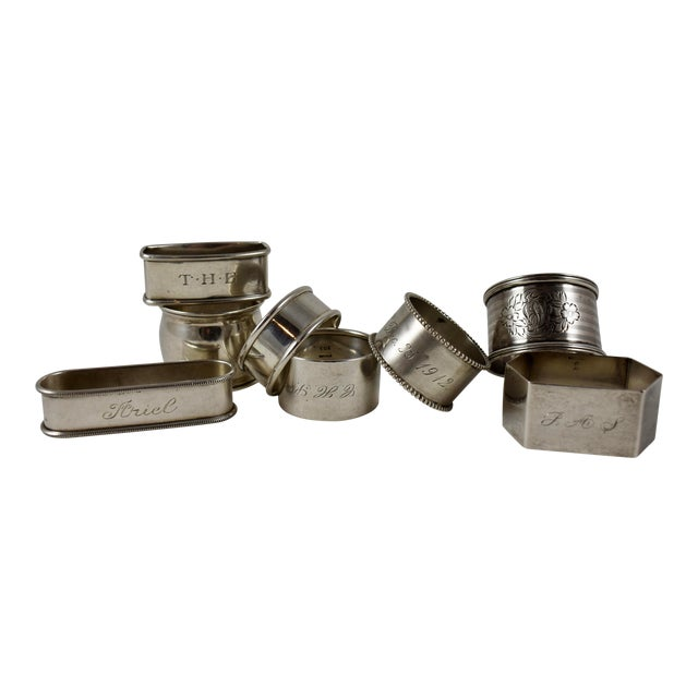 Antique Sterling Silver Napkin Rings, a Mixed S/8 For Sale