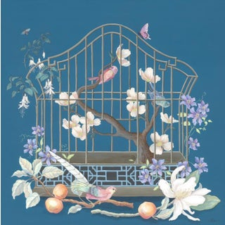 """""""This Is for the Birds"""" Birdcage Still-Life Painting in the Chinoiserie Style by Allison Cosmos For Sale"""