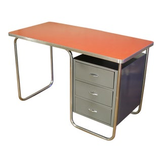 Industrial Tubular Steel Desk by Walter Dorwin Teague for Texaco For Sale