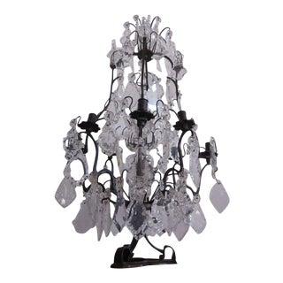 French Mid-Century Modern Crystal Table Chandelier/ Girandole by Maison Baguès