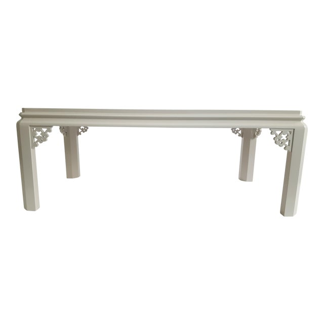 Vintage Henredon Chinoiserie White Coffee Table For Sale
