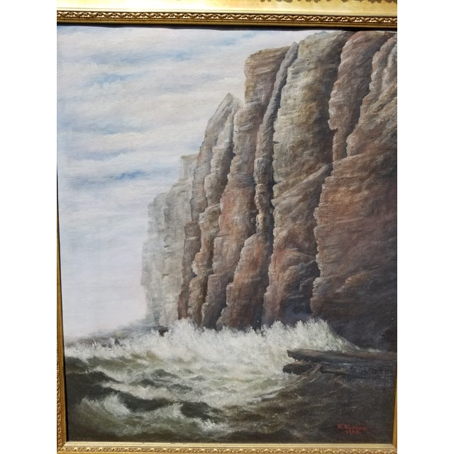 Nautical Antique 1903 Seascape Oil Painting Cliff & Waves For Sale - Image 3 of 12
