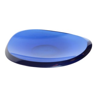 Fontana Arte Beveled Curved Blue Glass Bowl or Dish Signed FX Model 2007 A For Sale