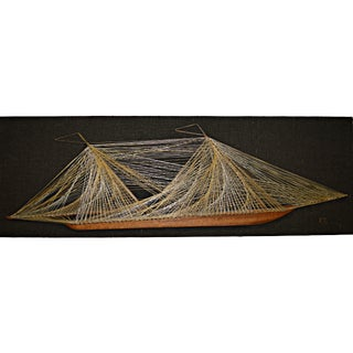 String & Nail Ship Hanging Art For Sale