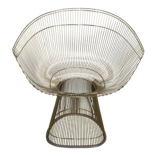 Knoll Warren Platner Nickel Plated Sculptural Steel Wire Side Chair For Sale