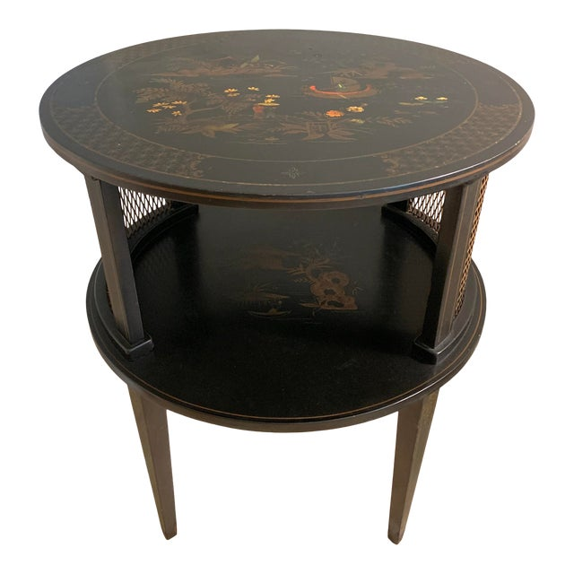 1930s Signed Katherine Henick Hand-Painted Chinoiserie Side Table For Sale