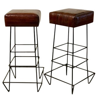 1970s Frederick Weinberg Eel Skin Stools - a Pair For Sale