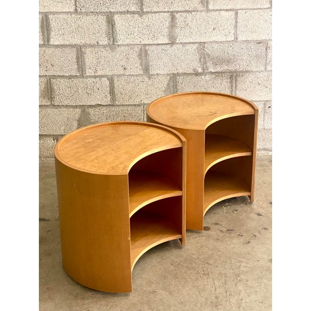 Vintage Mid-Century Modern Michael Taylor for Baker Curved Nightstands - a Pair For Sale - Image 9 of 9