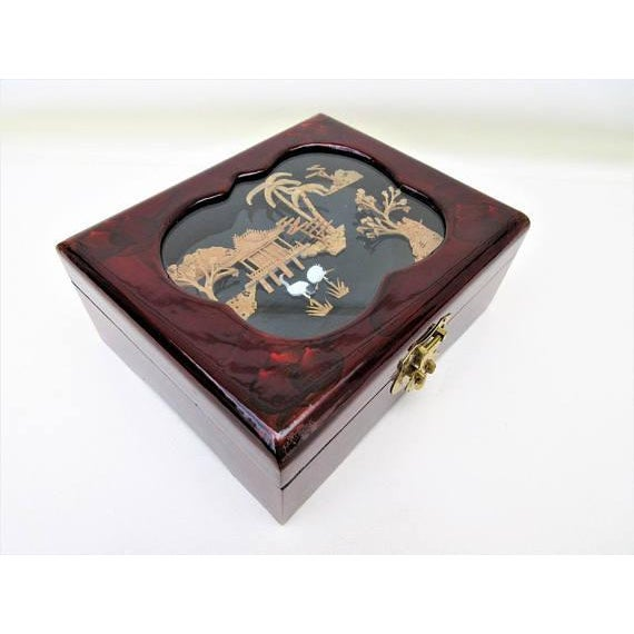 Vintage Wooden Lacquer Box   Jewelry Organizer - Image 2 of 7