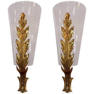 Pair of Wall Lights in Brass and Glass Attributed to Giovanni Gariboldi For Sale