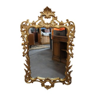 D. Milch & Son Inc Antique Regency Louis XV Style Gilded Hall Wall Mirror Carved For Sale