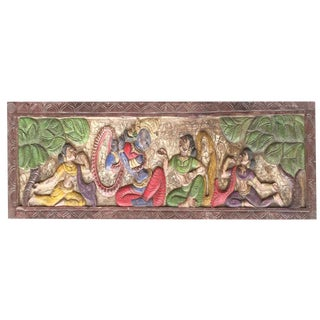 Handmade Vintage Carved Krishna Radha Headboard For Sale