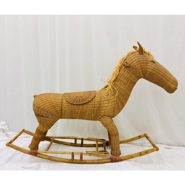 Boho Chic Vintage Wicker & Rattan Rocking Horse For Sale - Image 3 of 12