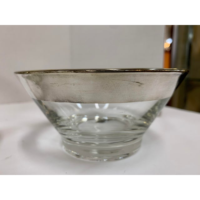 Glass 1960s Dorothy Thorpe Silver Rim Glass Salad Bowl Set - 7 Pieces For Sale - Image 7 of 8