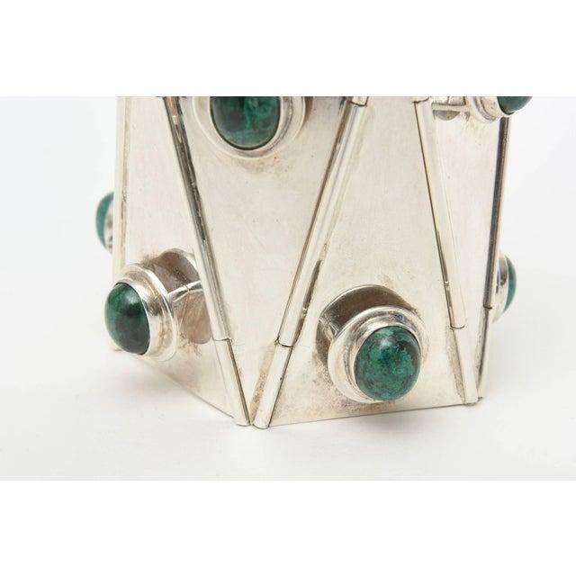 Sterling Silver & Malachite Sculptural Cuff Bracelet Vintage For Sale - Image 9 of 10