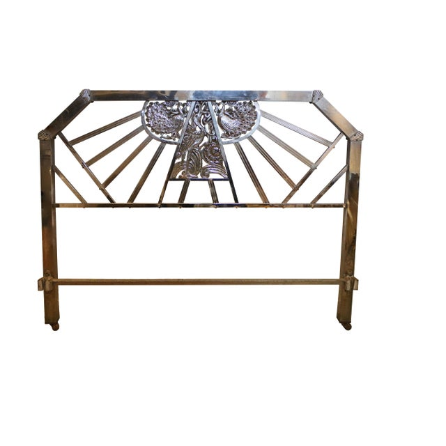 Vintage nickel over bronze Art Deco full bedframe, with headboard, foot board, and rails. Circa 1930. Assembled...