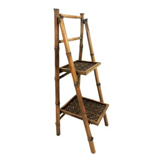 Late 20th Century Mid-Century Bamboo and Rattan Folding Step Bookcase or Shelf For Sale