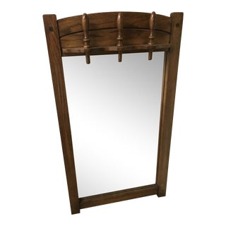 Mid-Century Modern Dark Stained Oak Mirror With Finials For Sale