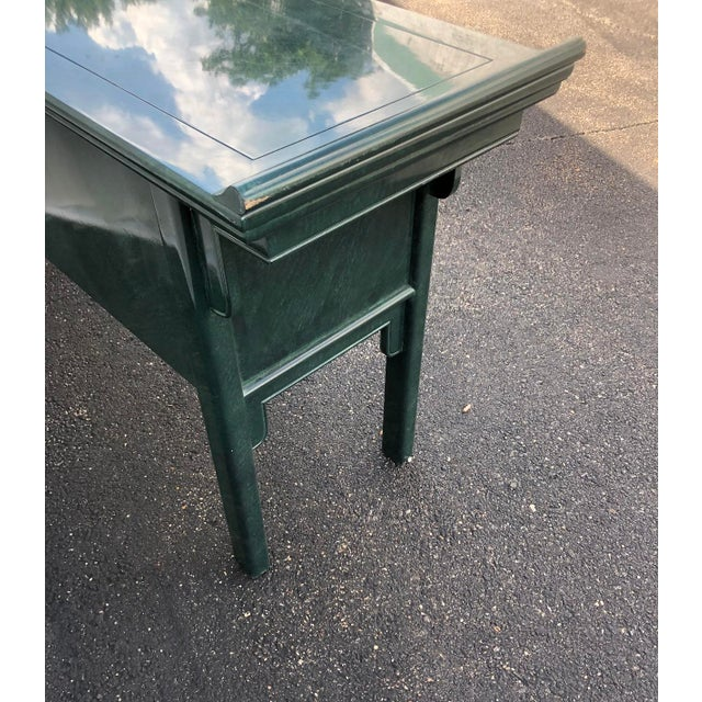 Century Furniture Lacquered Green Malachite Pagoda Console For Sale - Image 9 of 12