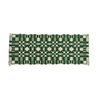 Geometric Green Wool Table Runner Plymouth Carding Mill the Edison Institute For Sale