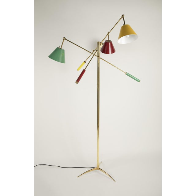 Metal Triennale Floor Lamp Attributed to Gino Sarfatti For Sale - Image 7 of 9