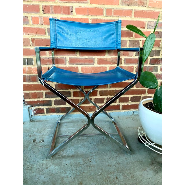 Vintage Blue and Chrome Milo Baughman Director's Chair For Sale - Image 11 of 11