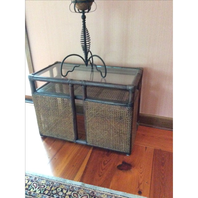 McGuire Bamboo Cane & Glass Stacking Tables - Pair - Image 5 of 7