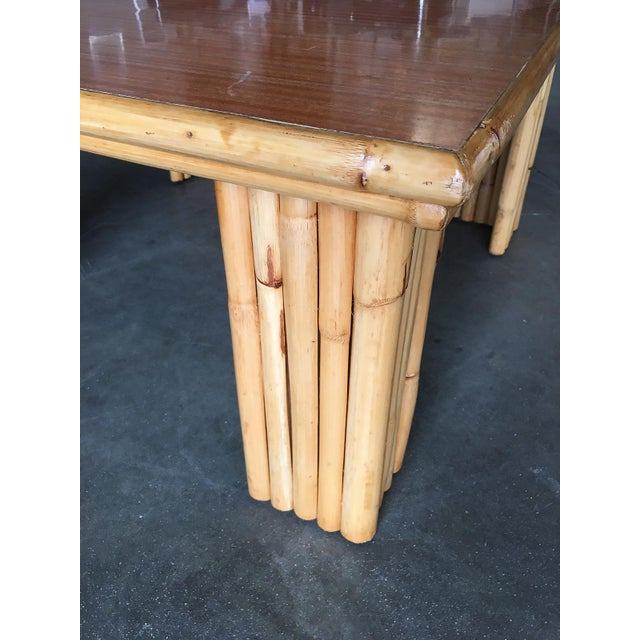 1950s Extra Wide Rattan Coffee Table With Formica Top For Sale - Image 5 of 8