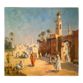 Late 19th Century Orientalist Oil Painting by Georges Chavignaud - N.Africa Town-Mosque Setting For Sale