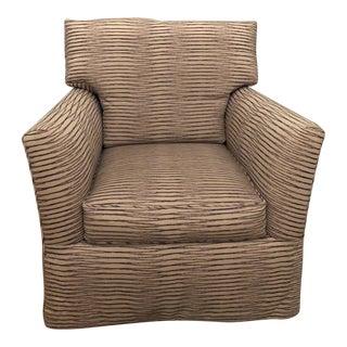 Contemporary RJones Custom Light Gray and Purple Upholstered Swivel Chair