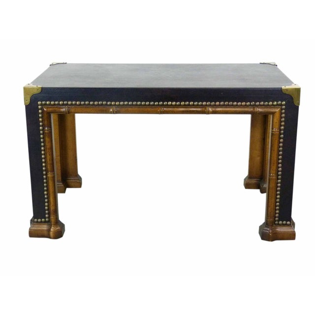 Drexel Faux Bamboo Leather Top Side Table For Sale
