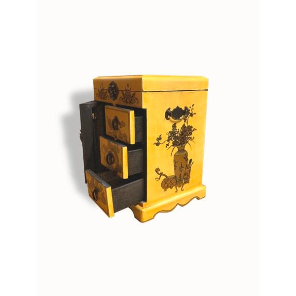 Asian Style Wooden Yellow Jewelry Box For Sale - Image 4 of 6