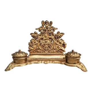 19th Century Italian Louis XV Rocaille Gilt Brass Desk Stand For Sale