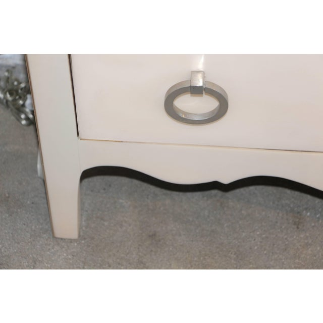 Late 20th Century Goat Skin Parchment Covered Three-Drawer Stands - a Pair For Sale - Image 5 of 10