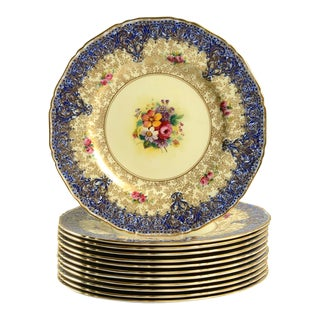 1940s Royal Worcester Gold Leaves Dinner Plate - Set of 12 For Sale