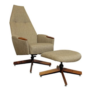 Mid-Century Modern Adrian Pearsall Lounge Chair 2174c & Ottoman 2175o For Sale
