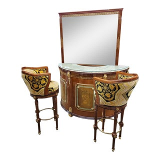 Versace Style Curved Mahogany Lacquered Marble Top Bar With Liquor Display Cabinet and 2 Stools - 4 Piece Set For Sale