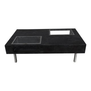 """1990s Contemporary Black Tessellated Stone """"Sommerset"""" Coffee Table With Glass Inserts For Sale"""