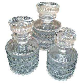 Small Crystal Decanters - Set of 3 For Sale
