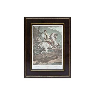 Antique 18th Century Galloping Cavalier Engraving