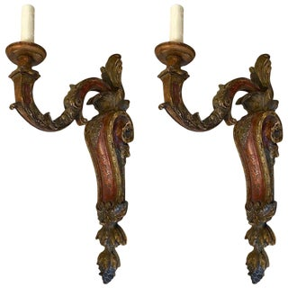 Italianate Carved and Polychromed Wood Single Arm Sconces - a Pair