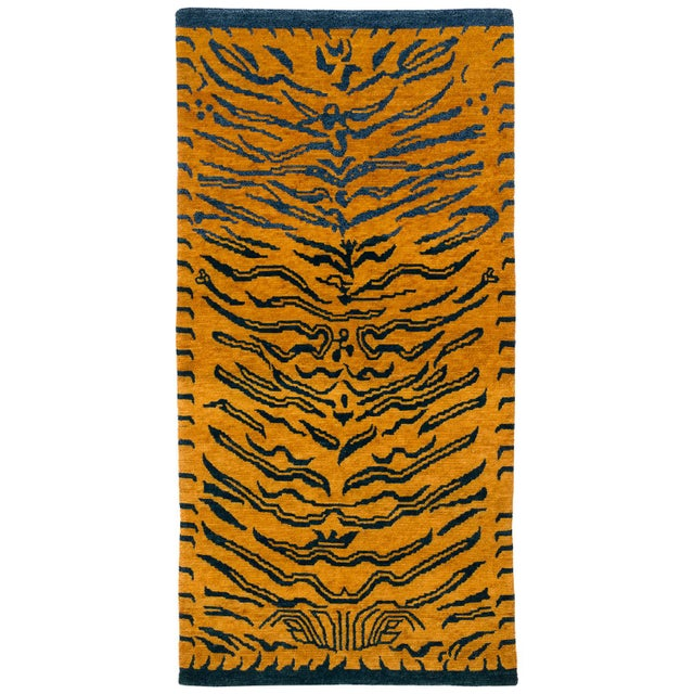 Gold Indigo Blue and Gold Wool Tiger Rug-3′ × 6′ For Sale - Image 8 of 8